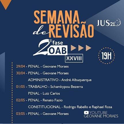 Vai começar a Semana de Revisão do Jus21: Hoje com Geovane Moraes!