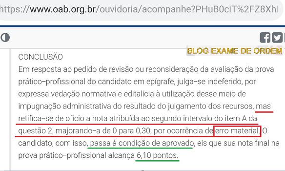 Erro material: Candidato tem nota majorada pela Ouvidoria da OAB