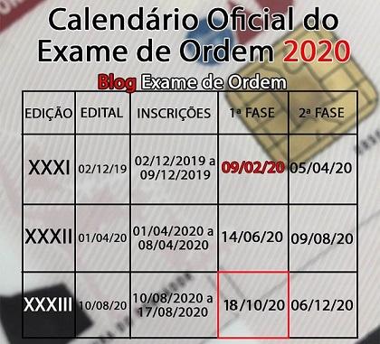 Calendário OAB 2020 - As datas e os prazos do Exame de Ordem neste ano