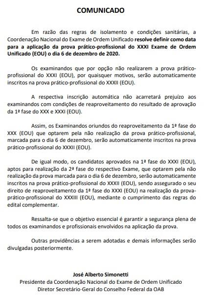 Comunicado oficial: OAB remarca prova para 6 de dezembro
