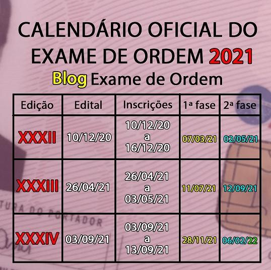 Urgente! Publicado o Calendário 2021 OAB Exame de Ordem