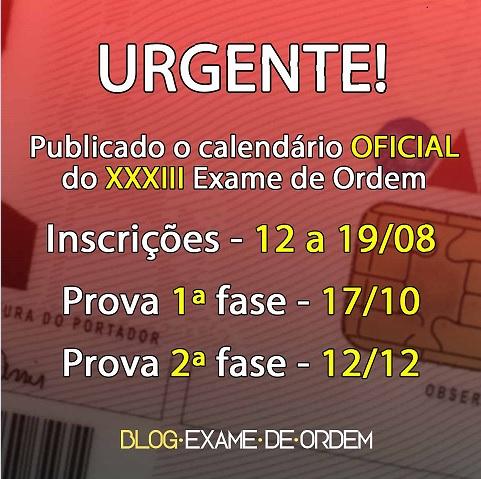 Urgente: OAB publica calendário oficial do XXXIII Exame de Ordem