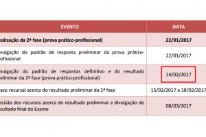 calendário do XXI Exame de Ordem
