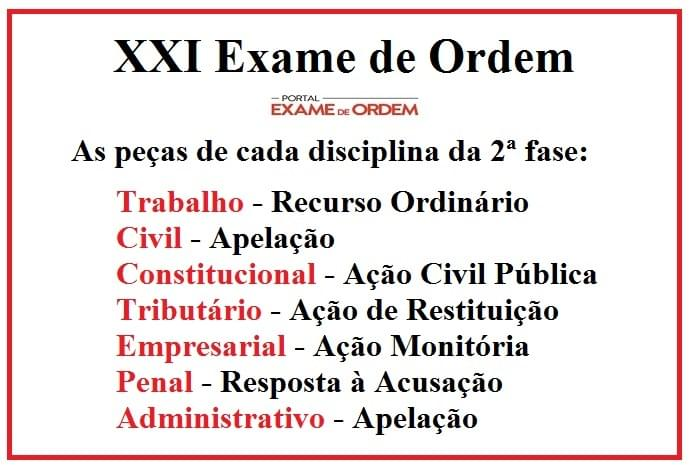 peças práticas do XXI Exame de Ordem