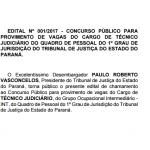 Publicado o edital do concurso para Técnico Judiciário do TJPR