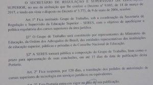 MEC suspende temporariamente a abertura de cursos de tecnólogos jurídicos