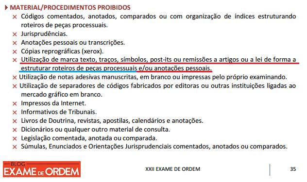 Anexo III do edital do exame de ordem proibições