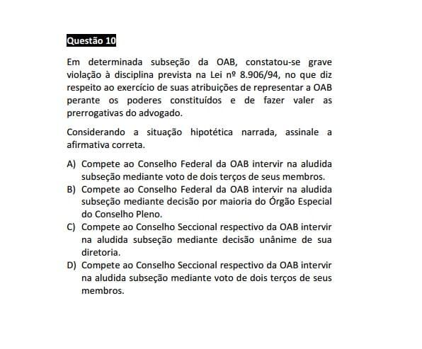 Recurso para a questão da subseção da OAB