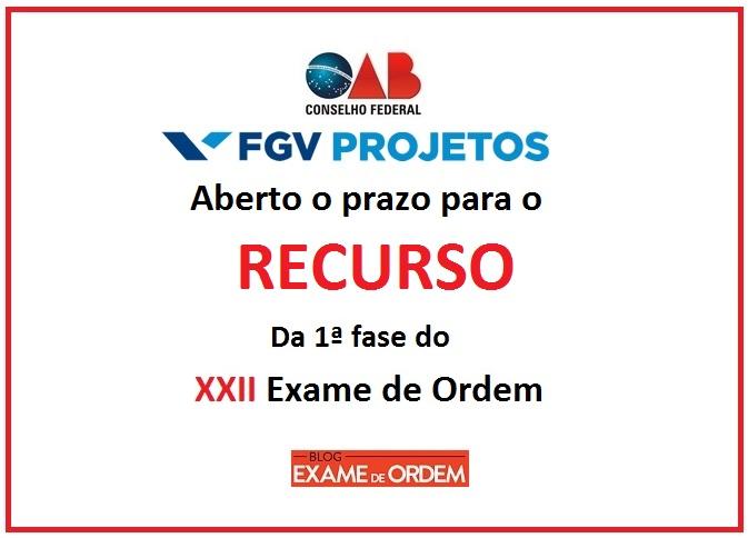 XXII Exame de Ordem: Aberto o prazo para recurso da prova da OAB.