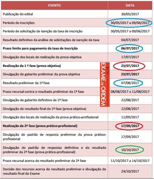 Calendário do XXIII Exame de Ordem