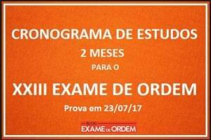Cronograma de Estudos Exame de Ordem