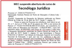 mec suspende abertura de curso de tecnólogo jurídico