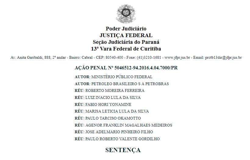íntegra da sentença de Lula