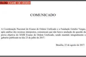 Comunicado oficial da OAB