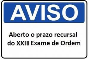 prazo recursal do XXIII Exame de Ordem