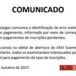FGV corrige data do pagamento da inscrição