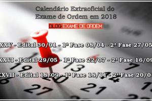 Calendário extraoficial da OAB 2018