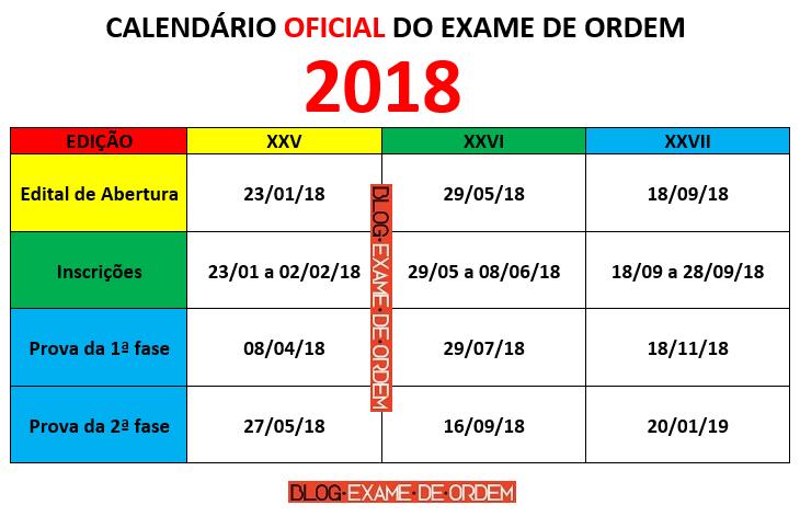 Calendário oab 2018