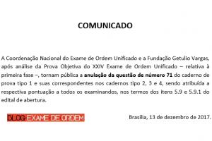 anulação da questão 71 do XXIV Exame de Ordem