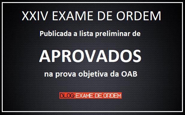 resultado preliminar da 1ª fase do XXIV Exame de Ordem