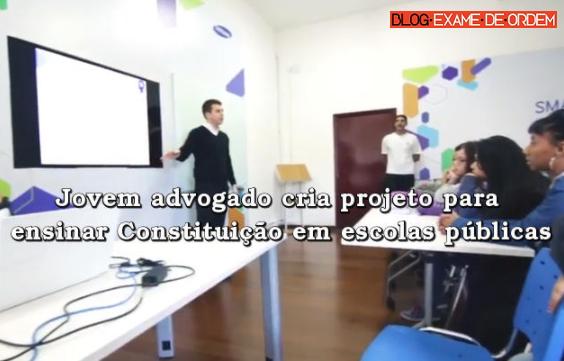 Jovem advogado cria projeto para ensinar Constituição em escolas públicas