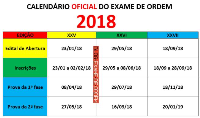 Calendário 2018 do Exame de Ordem